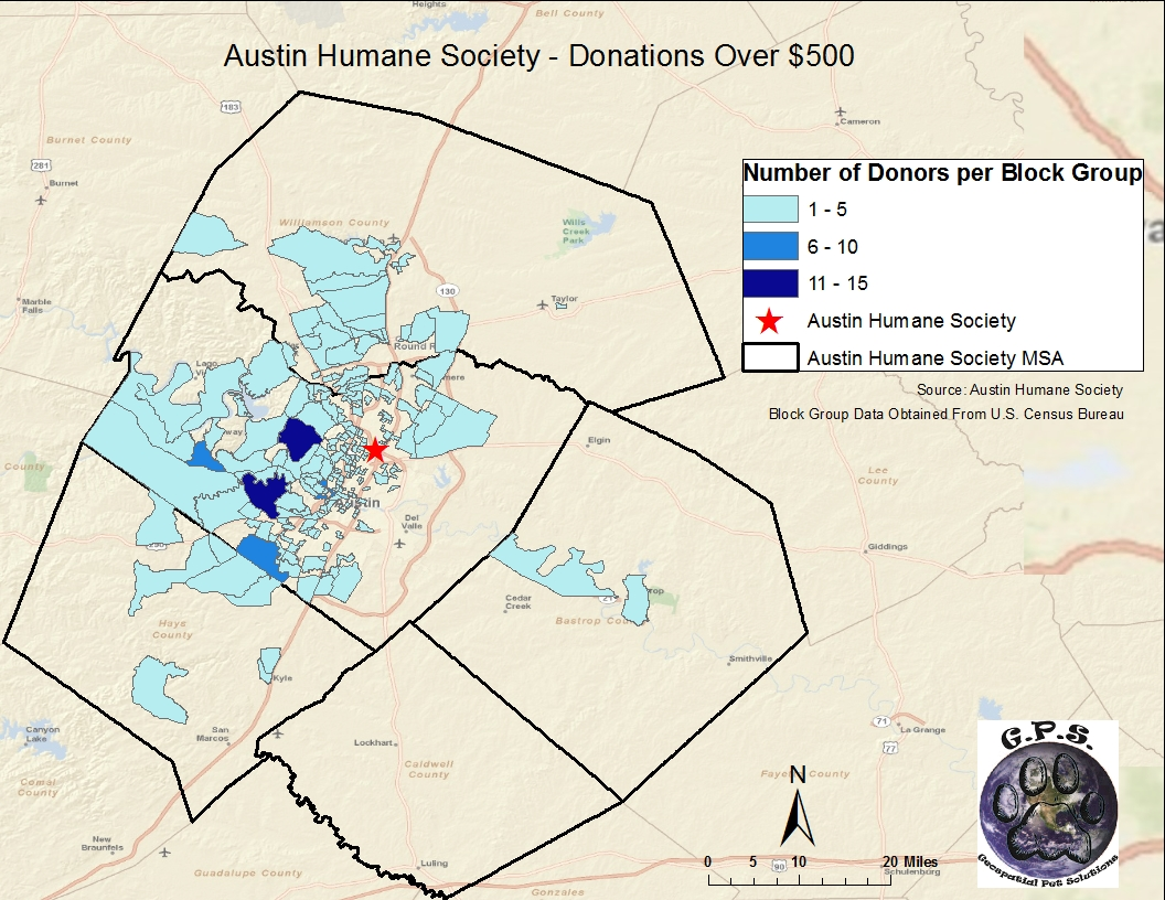 Donation Location Over $500 per Census Block Group Map on